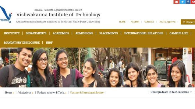 Vishwakarma Institute of Technology's Scholarship for Undergraduate and Postgraduate Students