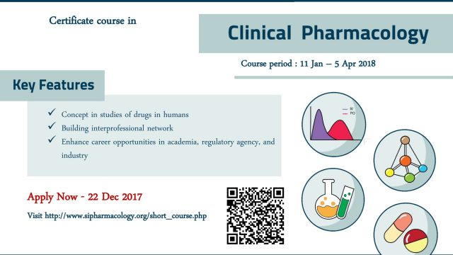 Certificate Course in Clinical Pharmacology (Apply now – December 22, 2017)