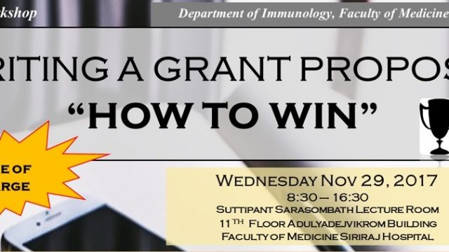 """One-Day Workshop """"Writing a Grant proposal – How To Win"""""""