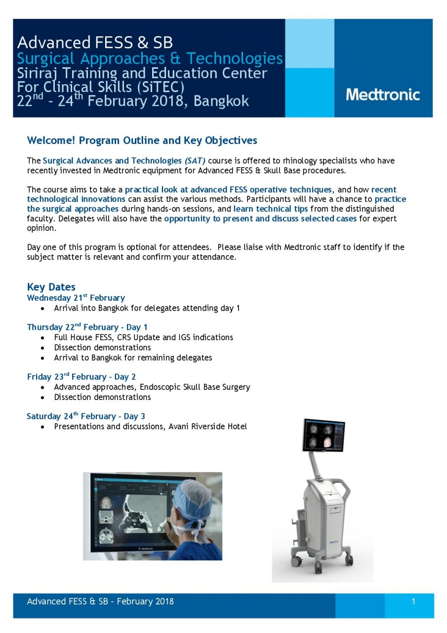 22nd – 23th February 2018 , Advanced FESS & SB Surgical