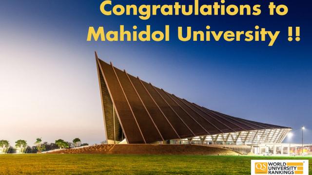 Congratulations to Mahidol University !!!