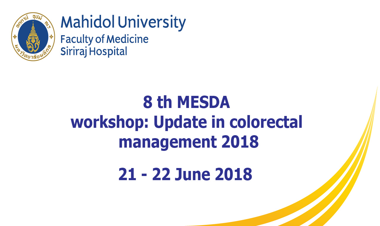 8 th MESDA Workshop: Update in colorectal management 2018