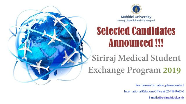 List of Selected Candidates for Siriraj Medical Students Exchange Program 2019
