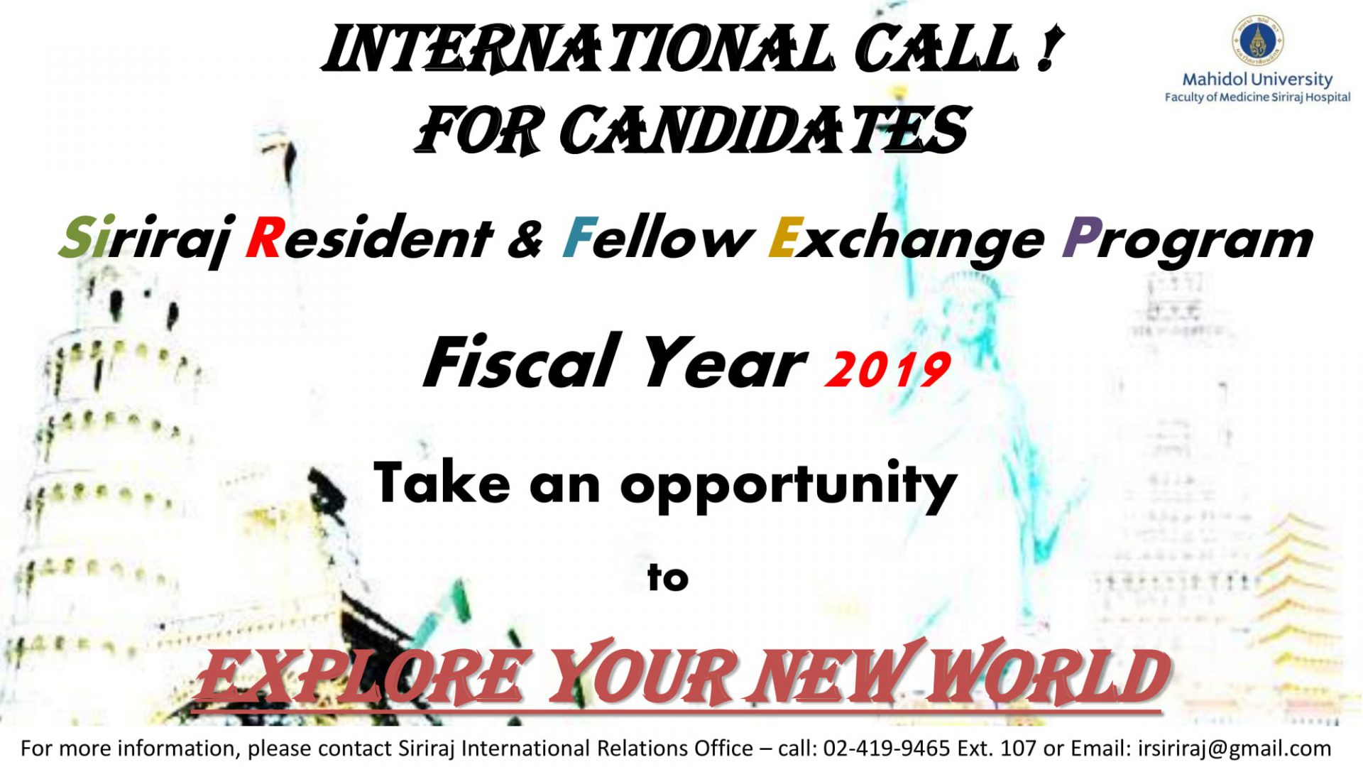 Siriraj Resident & Fellow Exchange Program 2019