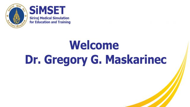 Welcome Dr. Gregory G. Maskarinec from John A. Burns School of Medicine, University of Hawaii