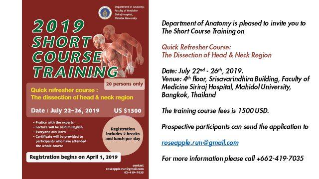 Short Course Training at Siriraj Anatomy 2019