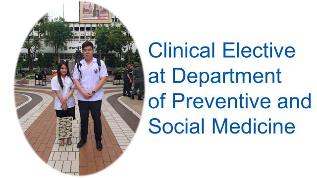 Elective Study at Department of Preventive and Social Medicine