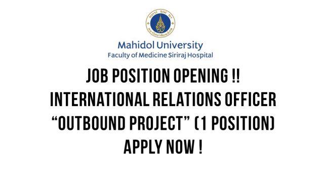 ๋Job Position Opening (International Relations)