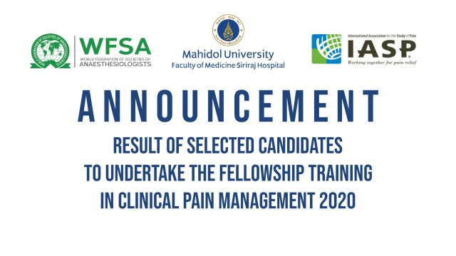 SELECTED CANDIDATES FOR CLINICAL PAIN MANAGEMENT 2020