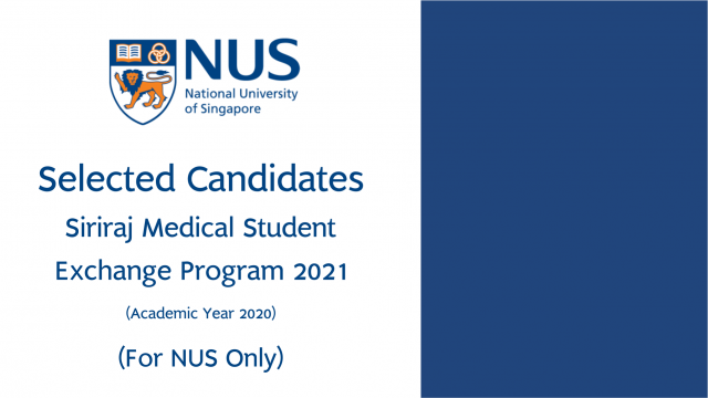 Selected Candidates for Exchange Program 2021 at NUS